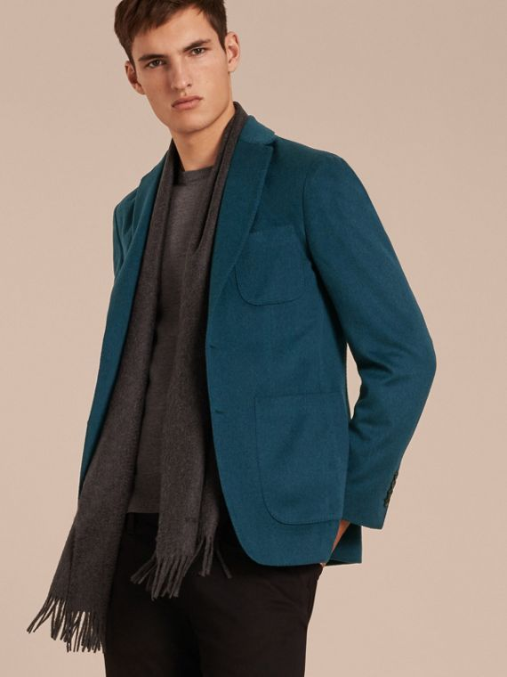 Modern Fit Lightweight Cashmere Tailored Jacket Mineral Blue