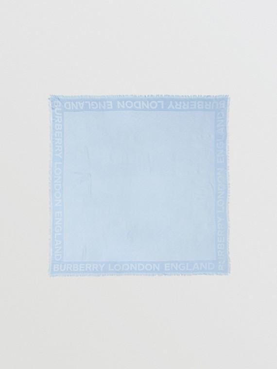 Monogram Silk Wool Jacquard Large Square Scarf in Pale Blue