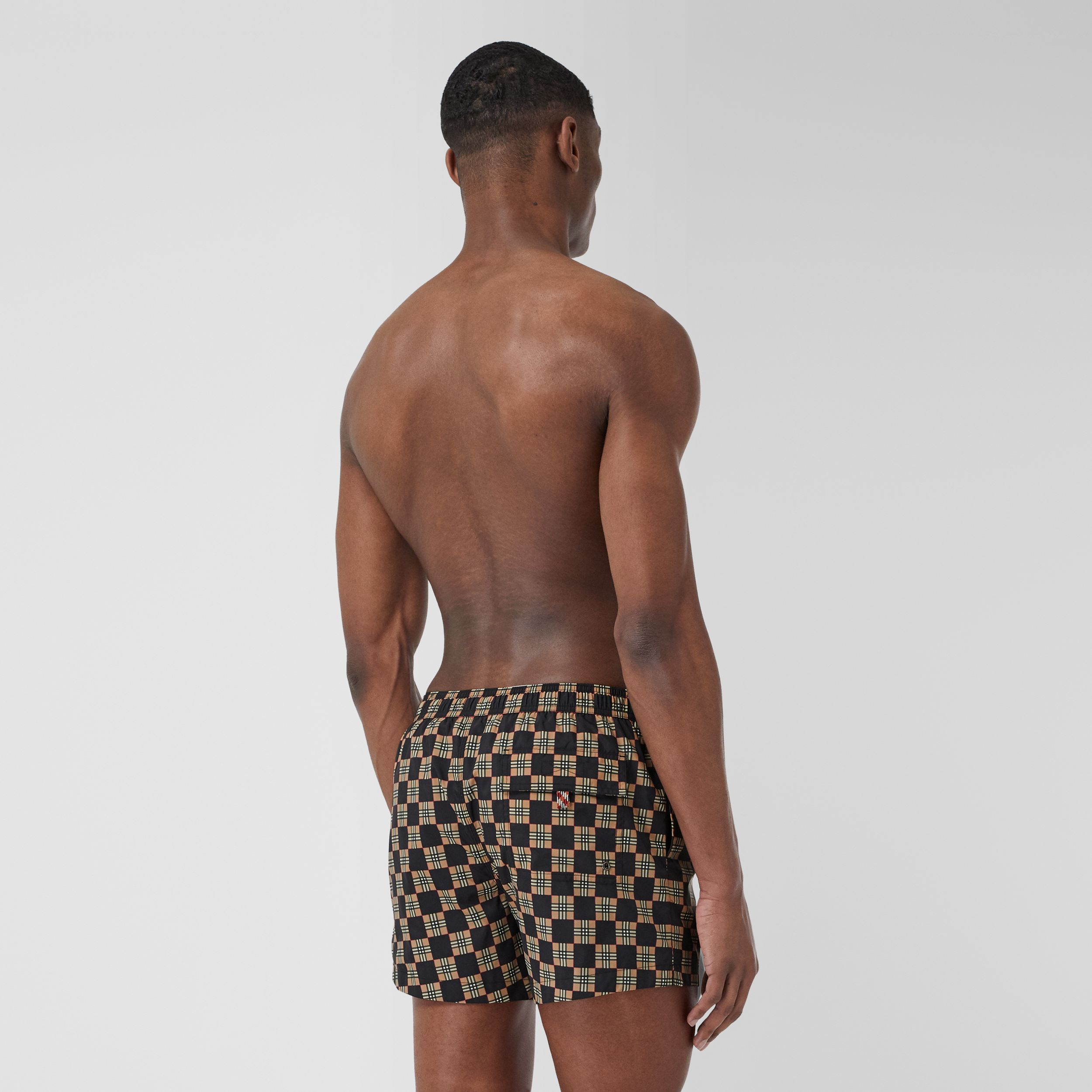 Chequer Print Drawcord Swim Shorts in Archive Beige - Men | Burberry - 2