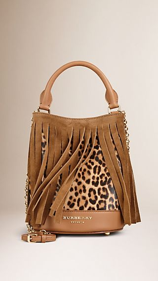 The Small Bucket Bag in Animal Print Calfskin and Fringing