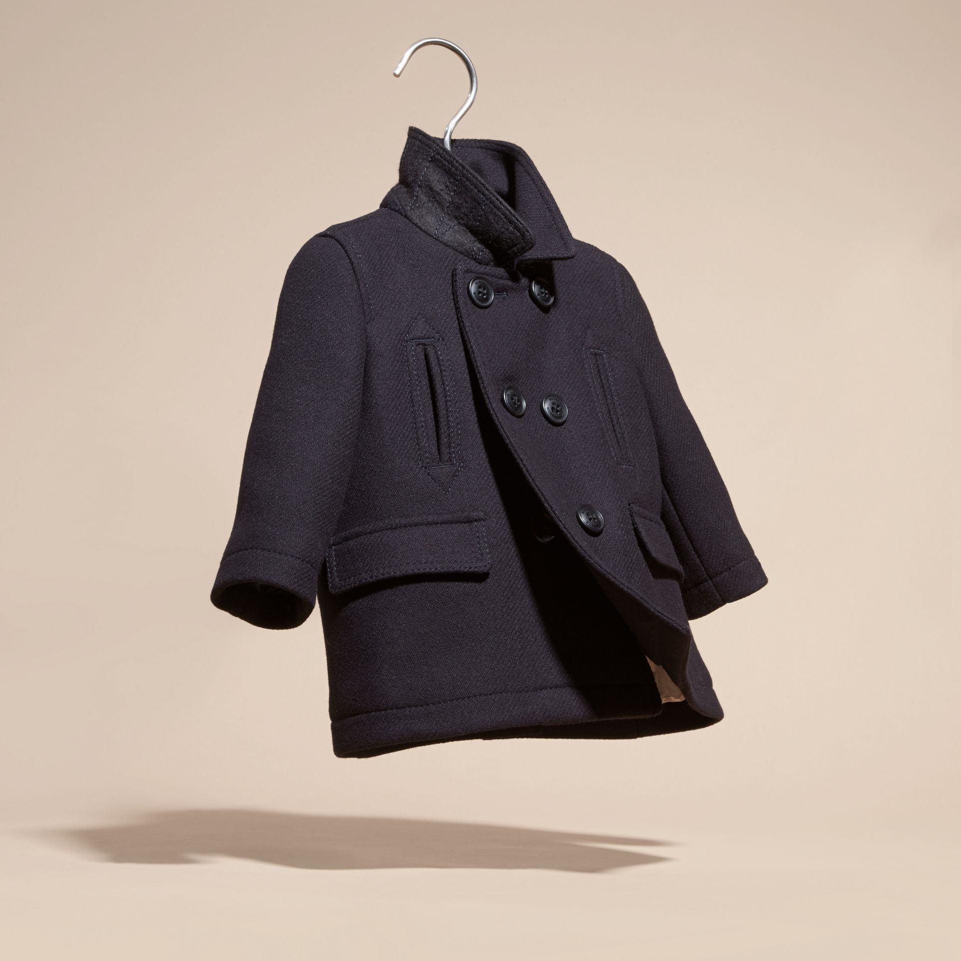 Navy Wool Cashmere Pea Coat - gallery image 3