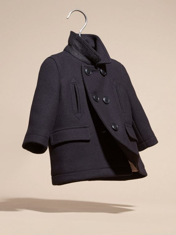 Navy Wool Cashmere Pea Coat - cell image 2