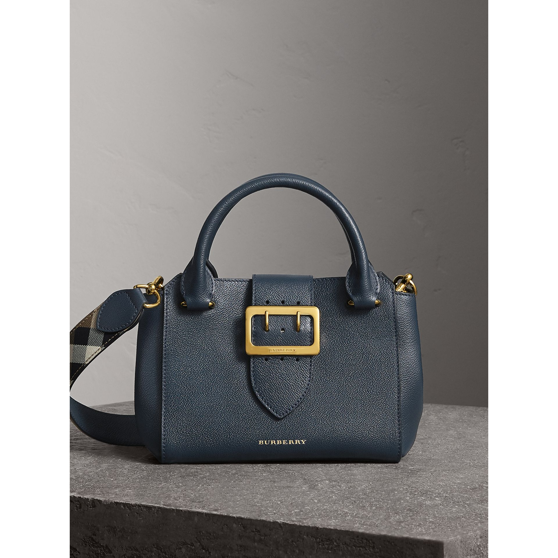 The Small Buckle Tote in Grainy Leather in Blue Carbon - Women | Burberry Australia - gallery image 0