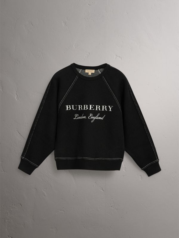 Topstitch Detail Wool Cashmere Blend Sweater in Black - Women | Burberry - cell image 3