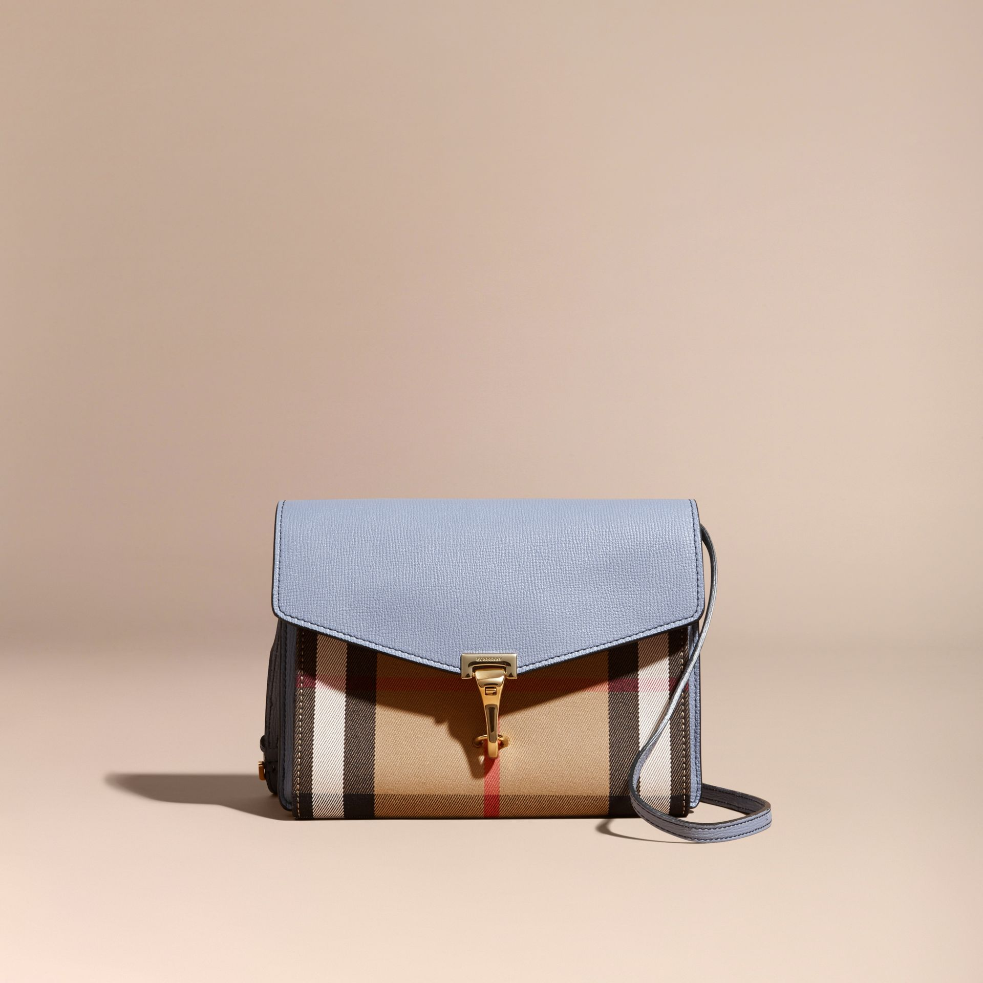 Small Leather and House Check Crossbody Bag in Slate Blue - gallery image 9
