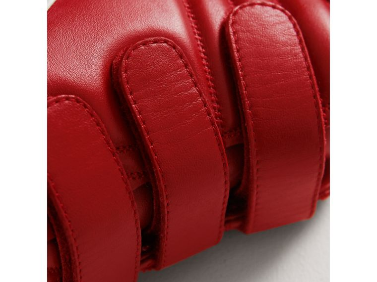 Quilted Leather High-top Trainers in Parade Red | Burberry Canada - cell image 1