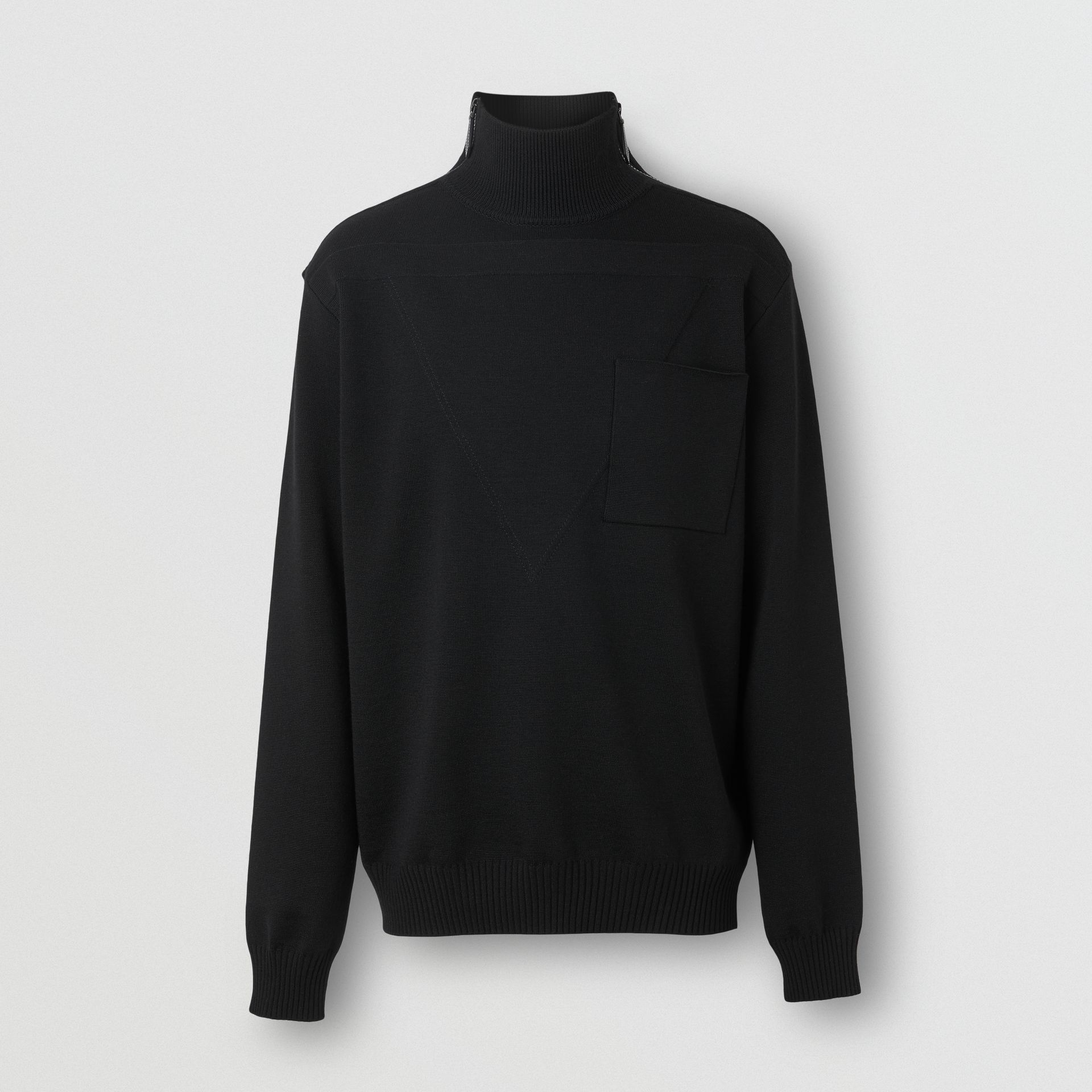 Zip Detail Wool Turtleneck Sweater in Black - Men | Burberry Australia - gallery image 2