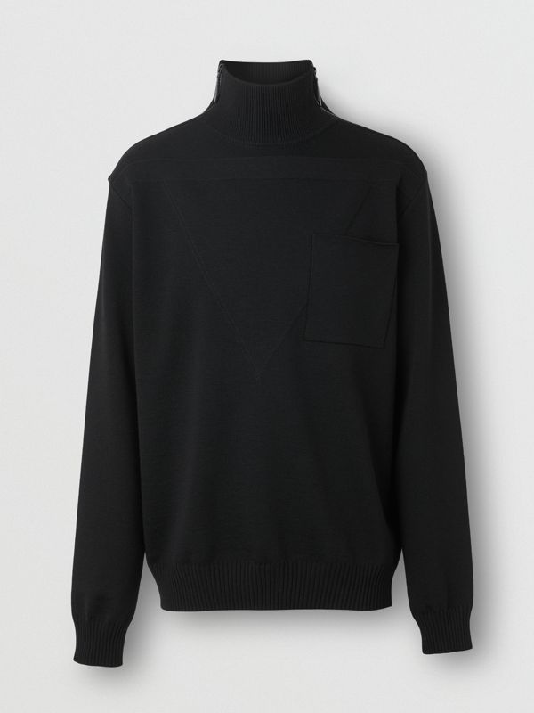 Zip Detail Wool Turtleneck Sweater in Black - Men | Burberry Australia - cell image 2