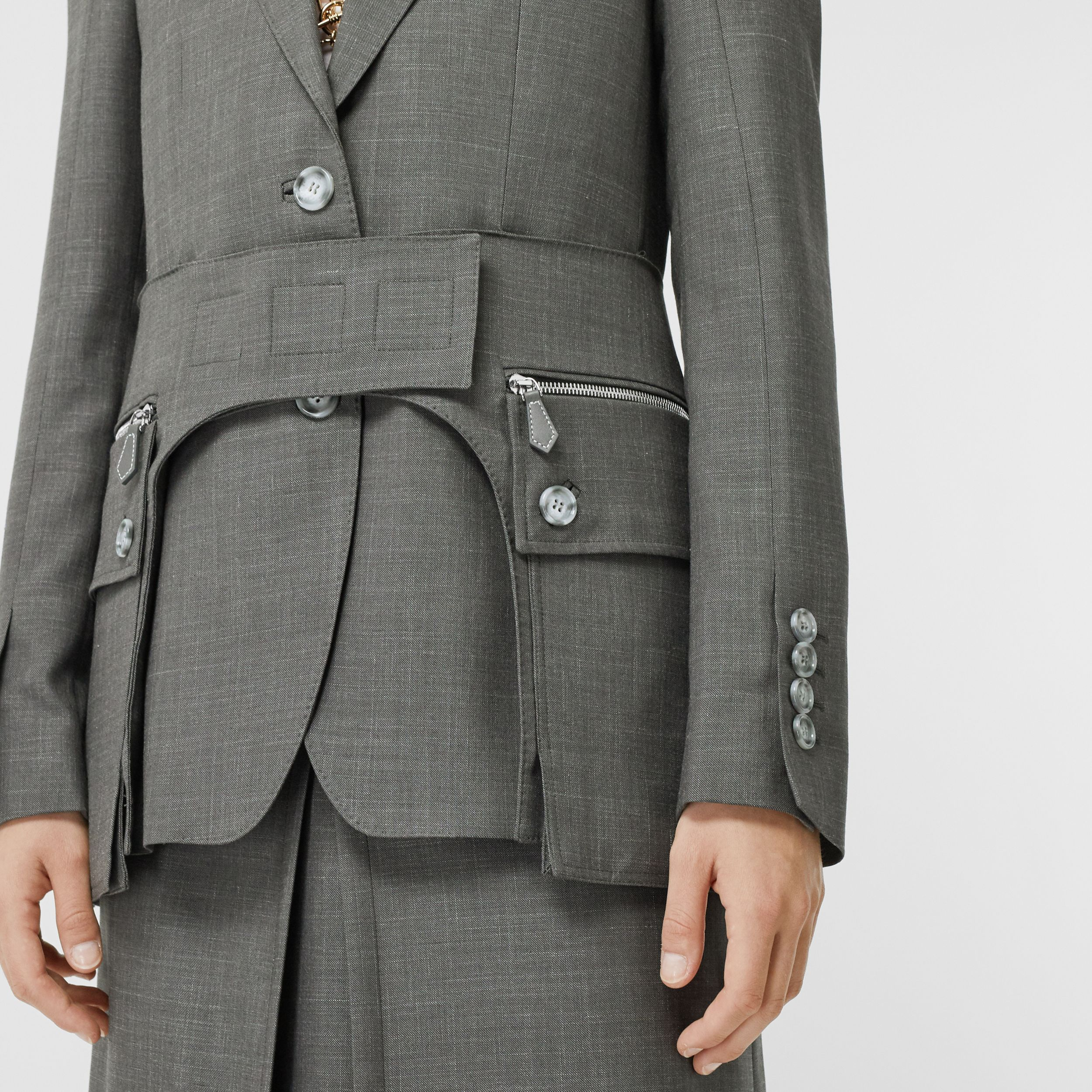 Cargo Belt Detail Wool Silk Mohair Linen Blazer in Charcoal Grey - Women | Burberry - 2