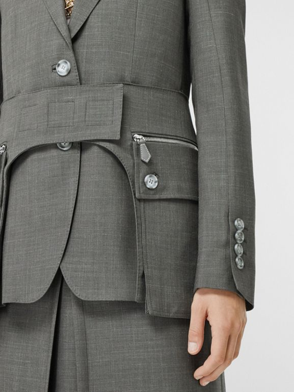 Cargo Belt Detail Wool Silk Mohair Linen Blazer in Charcoal Grey - Women | Burberry United Kingdom - cell image 1