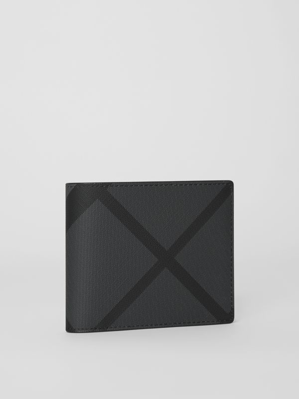 London Check Bifold Wallet with ID Card Case in Charcoal/black - Men | Burberry - cell image 3