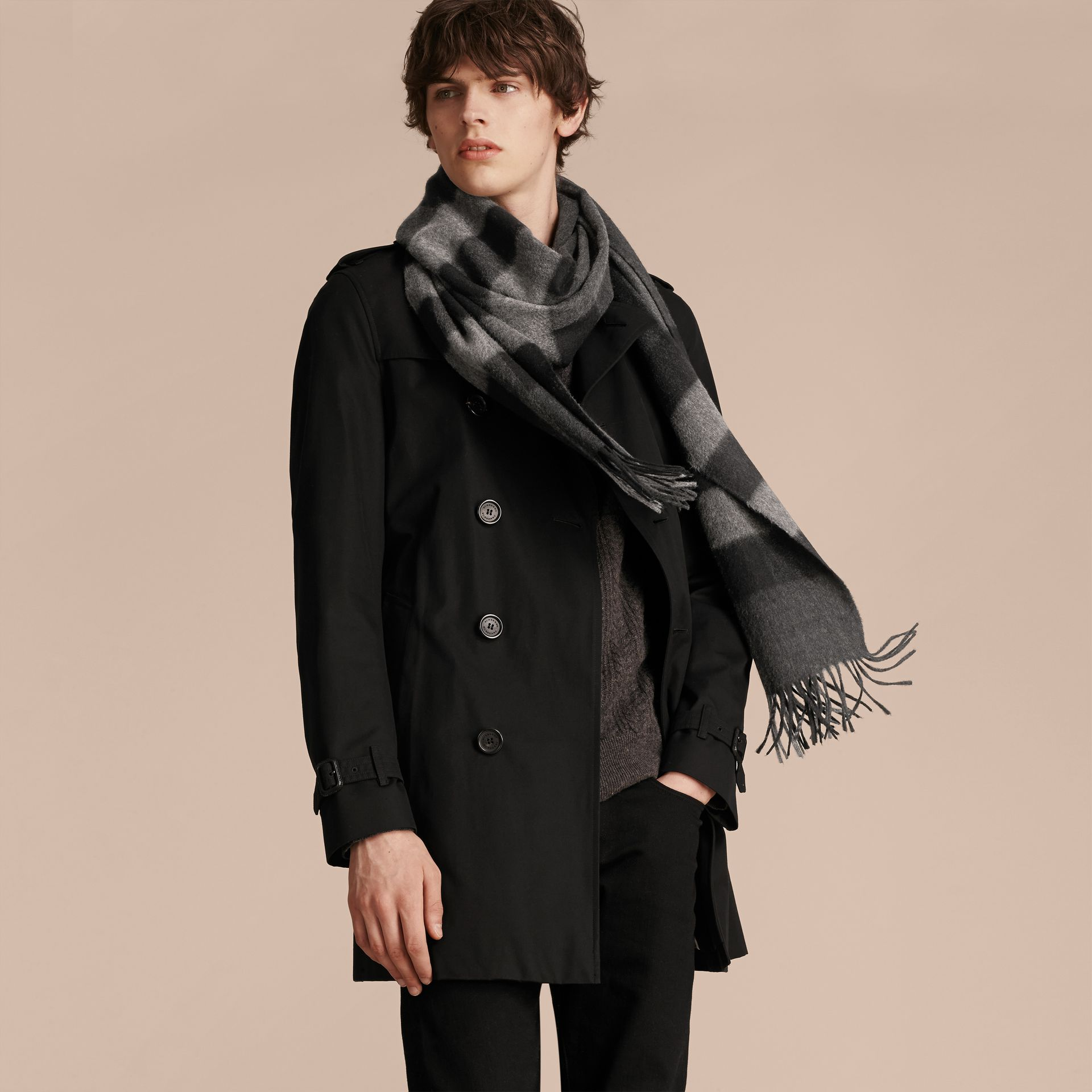 Charcoal check The Large Classic Cashmere Scarf in Check Charcoal - gallery image 4