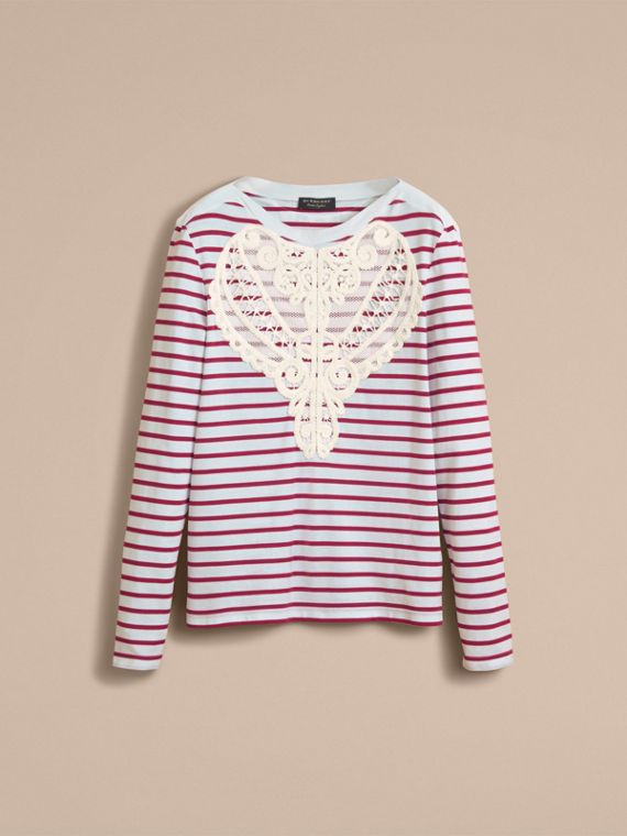 Unisex Breton Stripe Cotton Top with Lace Appliqué - Men | Burberry - cell image 3