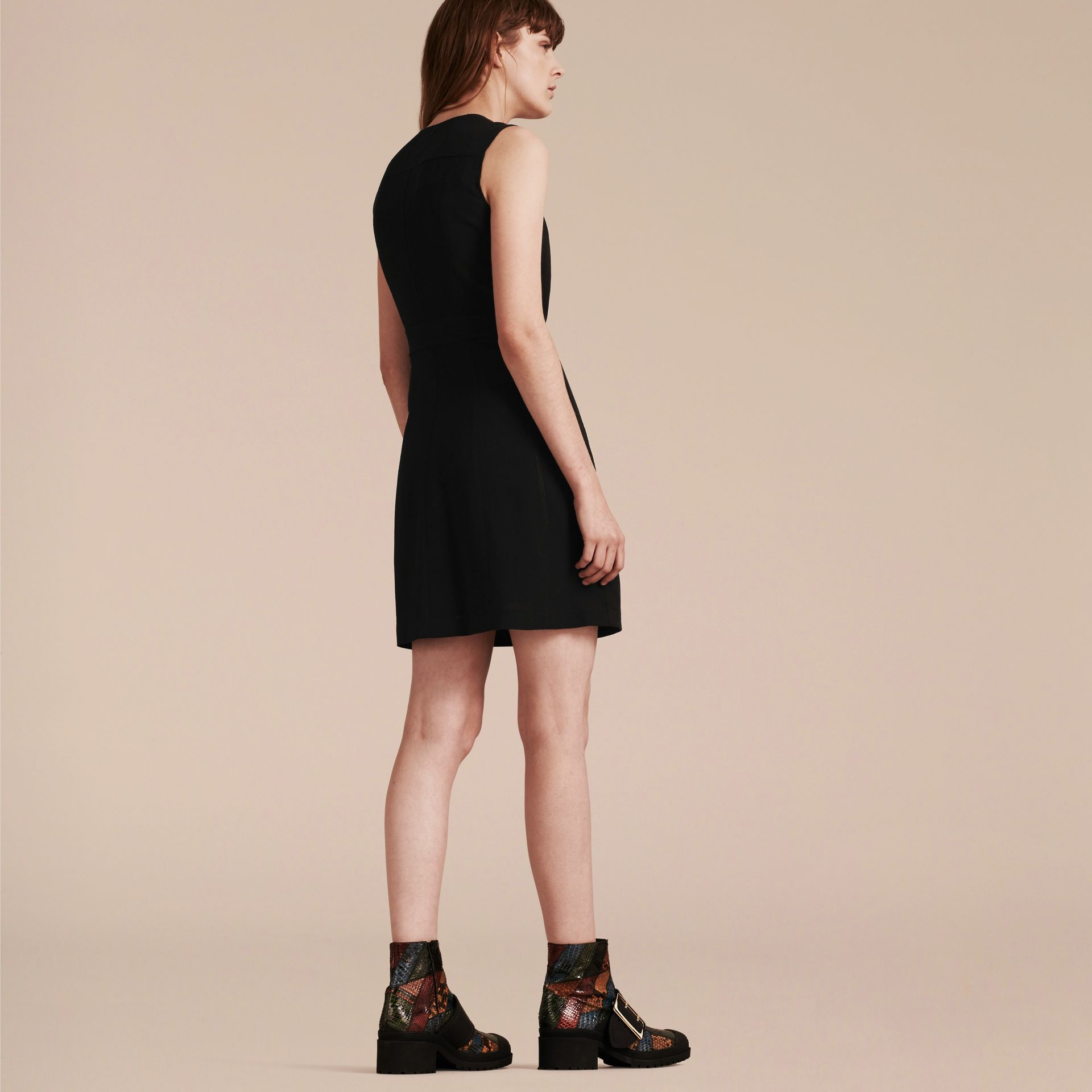 Black Zip Detail Sleeveless Wool Dress - gallery image 3