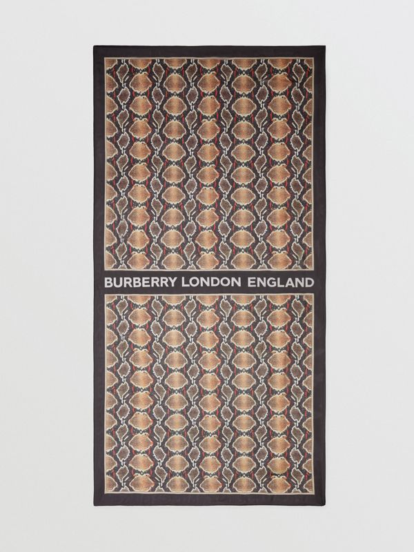 Python Print Silk Chiffon Scarf in Multicolour | Burberry - cell image 3