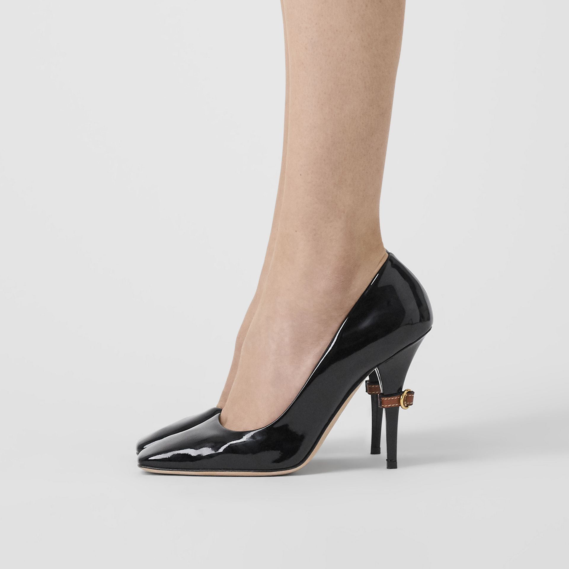 D-ring Detail Patent Leather Square-toe Pumps in Black - Women | Burberry - gallery image 2