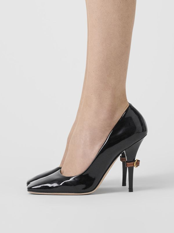 D-ring Detail Patent Leather Square-toe Pumps in Black - Women | Burberry - cell image 2