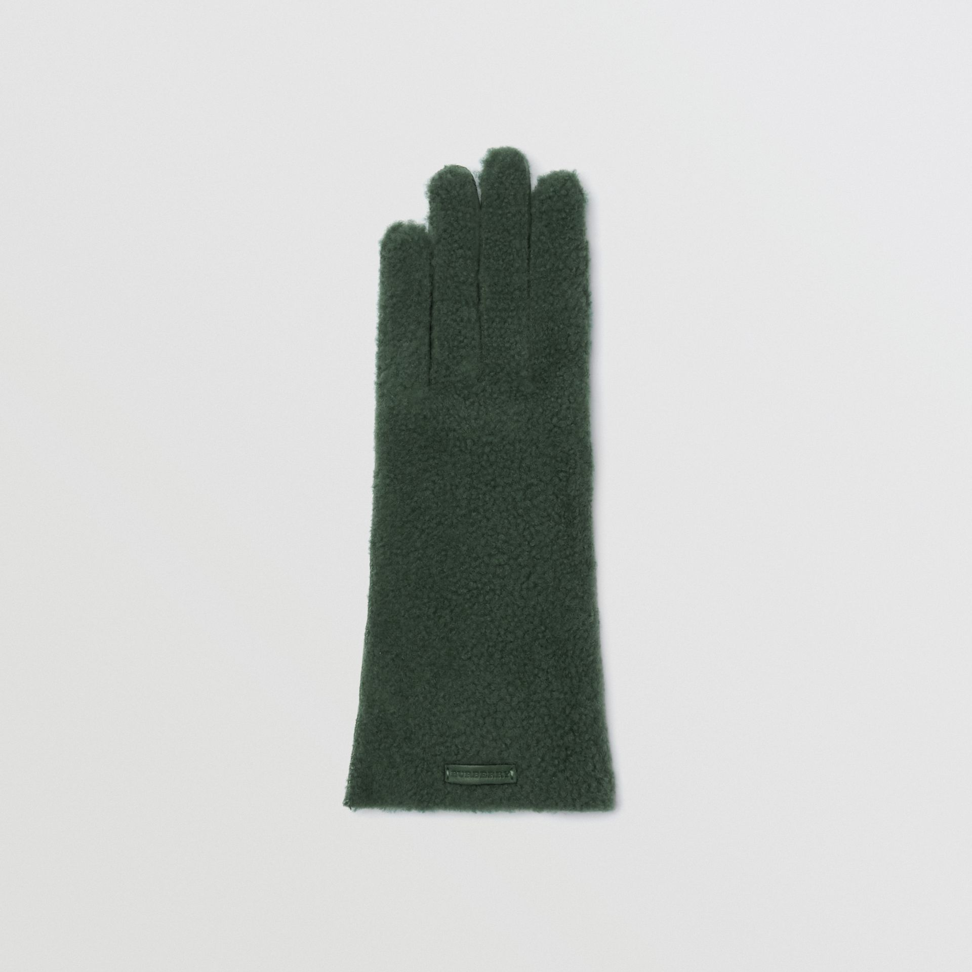 Shearling and Leather Gloves in Powder Green - Women | Burberry - gallery image 2