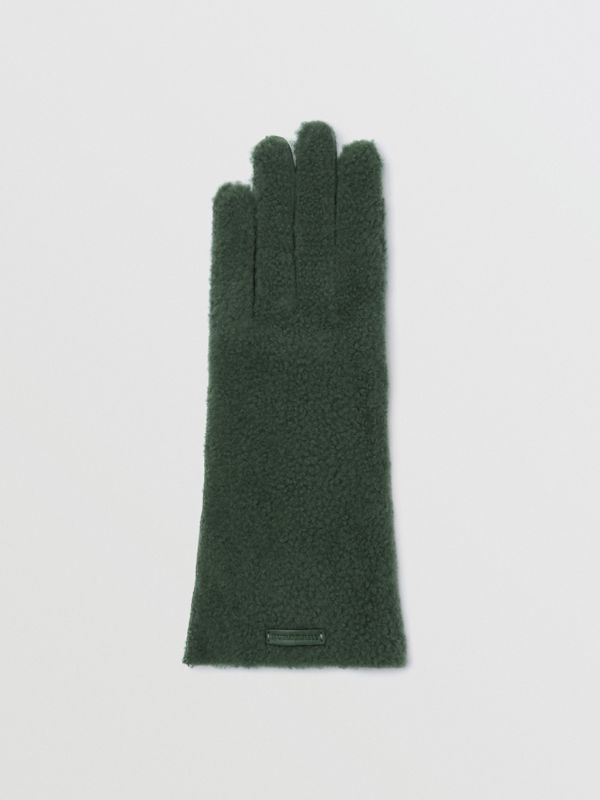 Shearling and Leather Gloves in Powder Green | Burberry - cell image 2