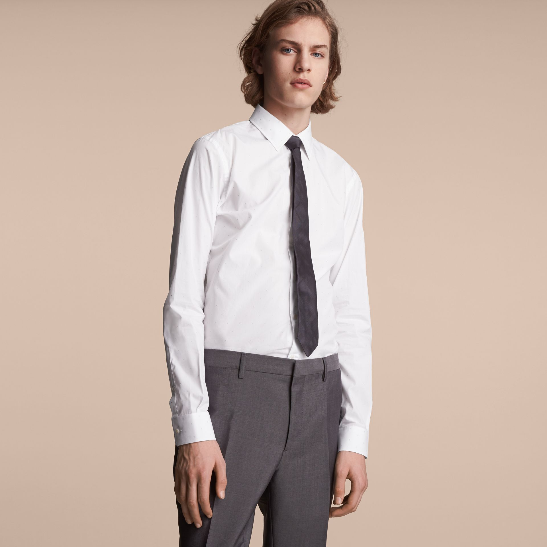 Slim Fit Dot Fil Coupé Cotton Poplin Shirt in White - Men | Burberry - gallery image 6