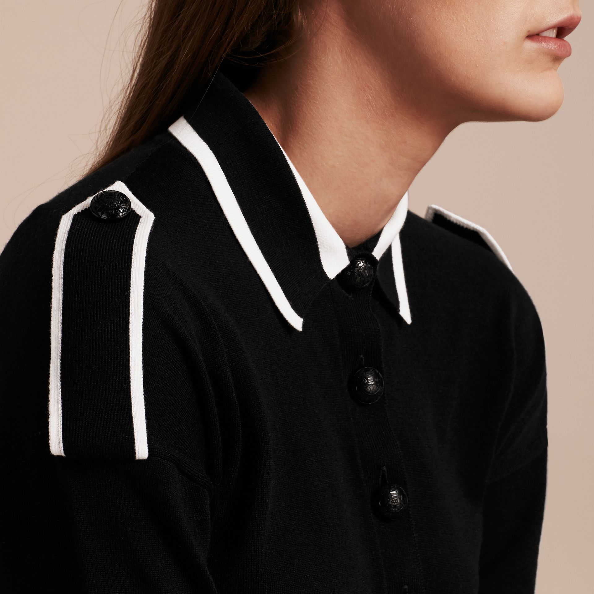 Black/white Striped Collar Wool Polo Shirt - gallery image 2