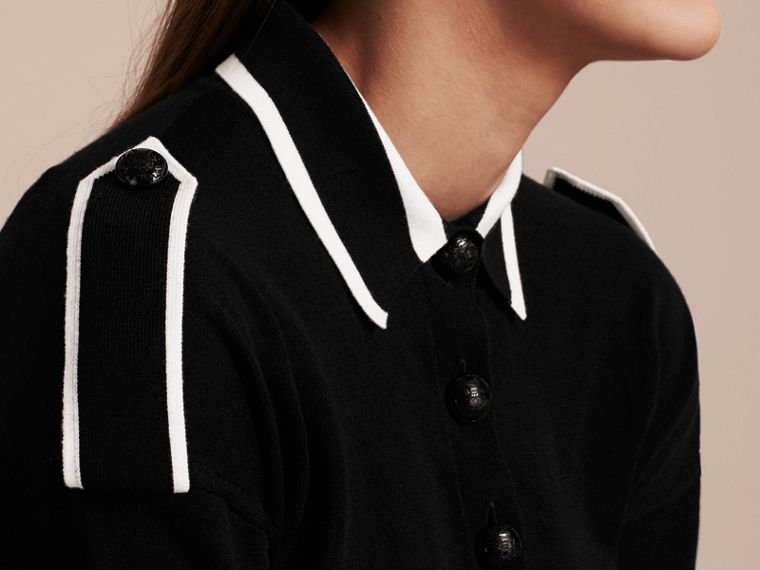 Black/white Striped Collar Wool Polo Shirt - cell image 1