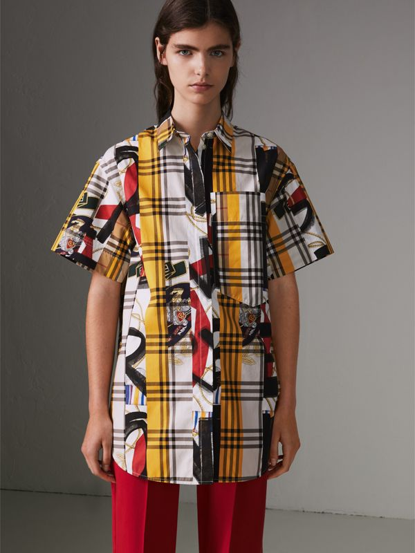 Short-sleeve Archive Scarf Print Check Cotton Shirt in Multicolour - Women | Burberry United Kingdom - cell image 3