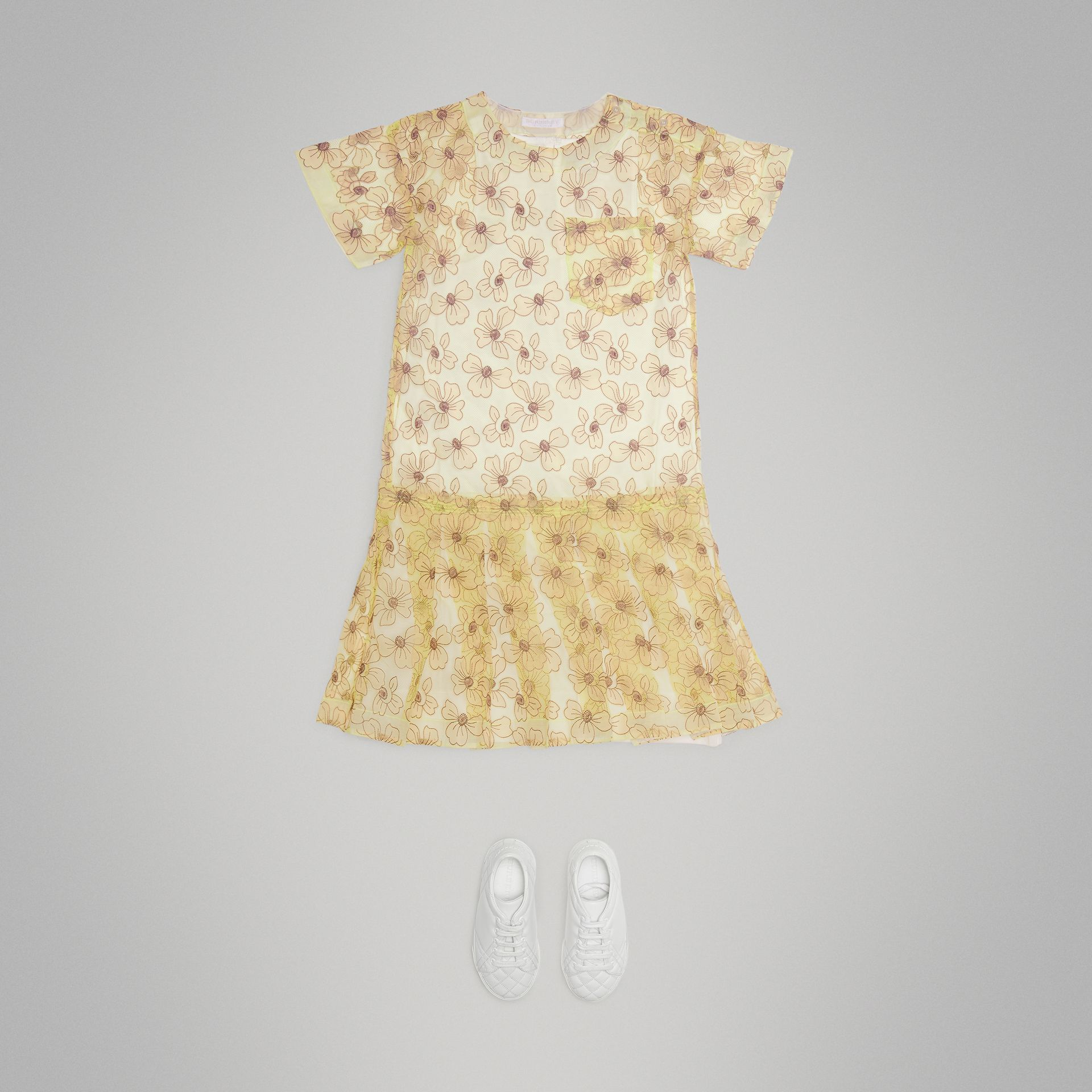 Floral Appliqué Tulle Dress in Citrus Yellow - Children | Burberry - gallery image 2