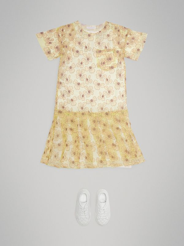 Floral Appliqué Tulle Dress in Citrus Yellow | Burberry United States - cell image 2