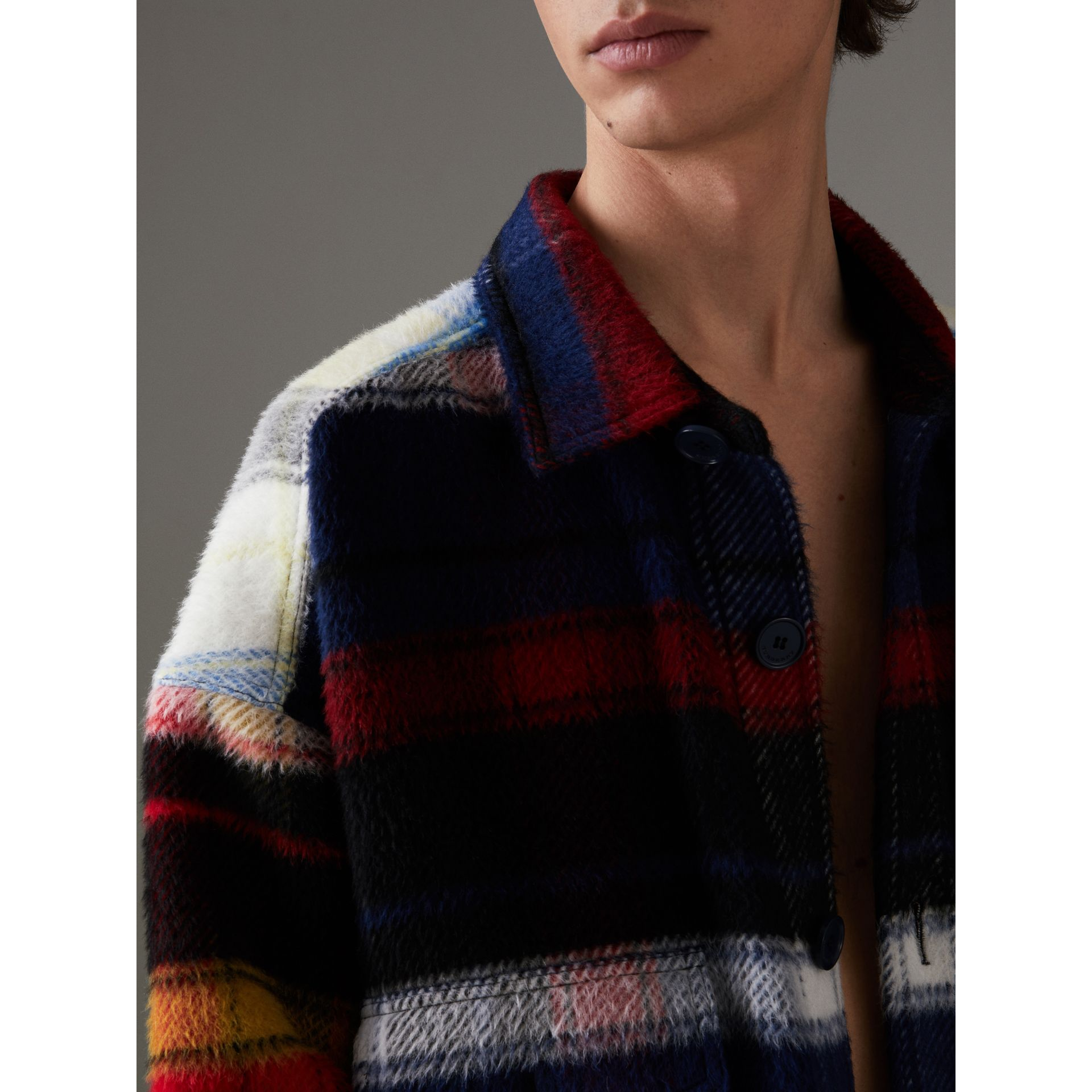 Check Alpaca Wool Jacket in Bright Navy | Burberry - gallery image 1