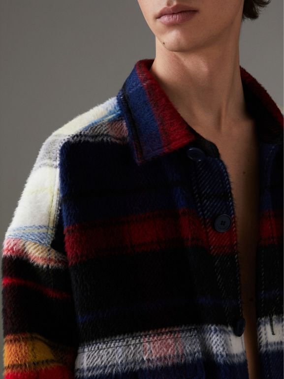 Check Alpaca Wool Jacket in Bright Navy | Burberry - cell image 1