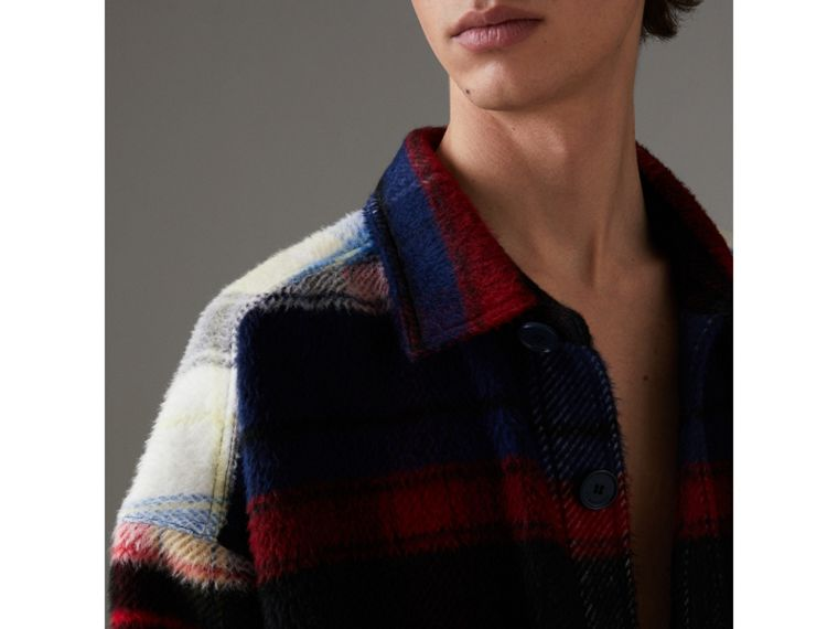 Check Alpaca Wool Jacket in Bright Navy | Burberry United States - cell image 1