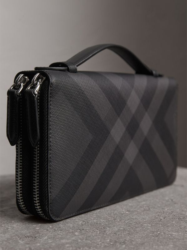 London Check Travel Wallet in Charcoal/black - Men | Burberry - cell image 2