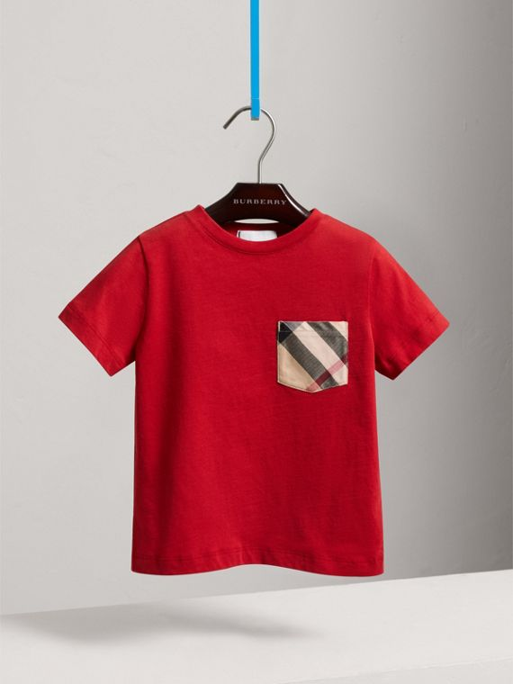 Check Pocket Cotton T-shirt in Military Red - Boy | Burberry United Kingdom - cell image 2