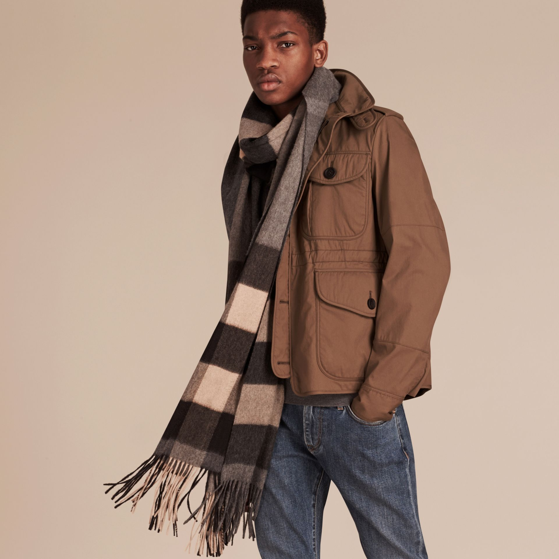 Mid grey/camel Oversize Check Cashmere Scarf Mid Grey/camel - gallery image 4
