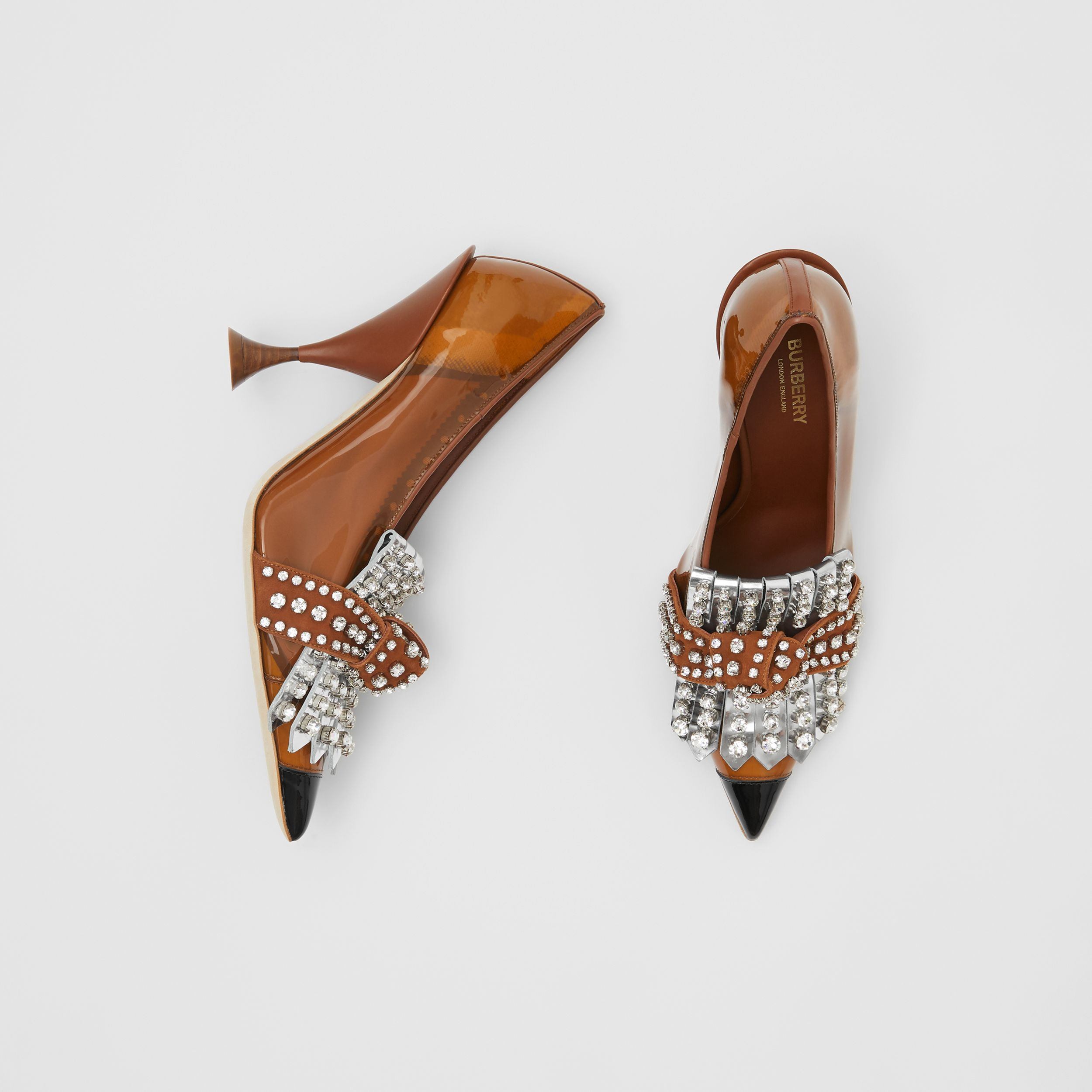 Crystal Kiltie Fringe Vinyl and Leather Point-toe Pumps in Malt Brown/black - Women | Burberry - 1