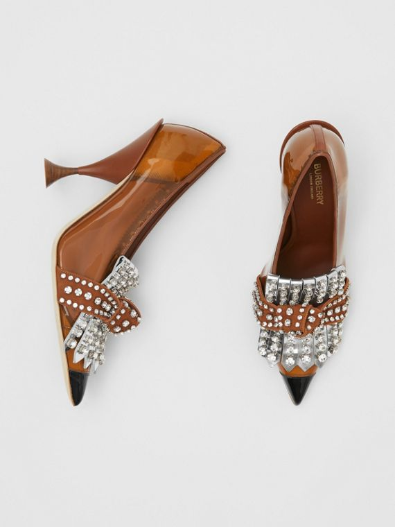 Crystal Kiltie Fringe Vinyl and Leather Point-toe Pumps in Malt Brown/black