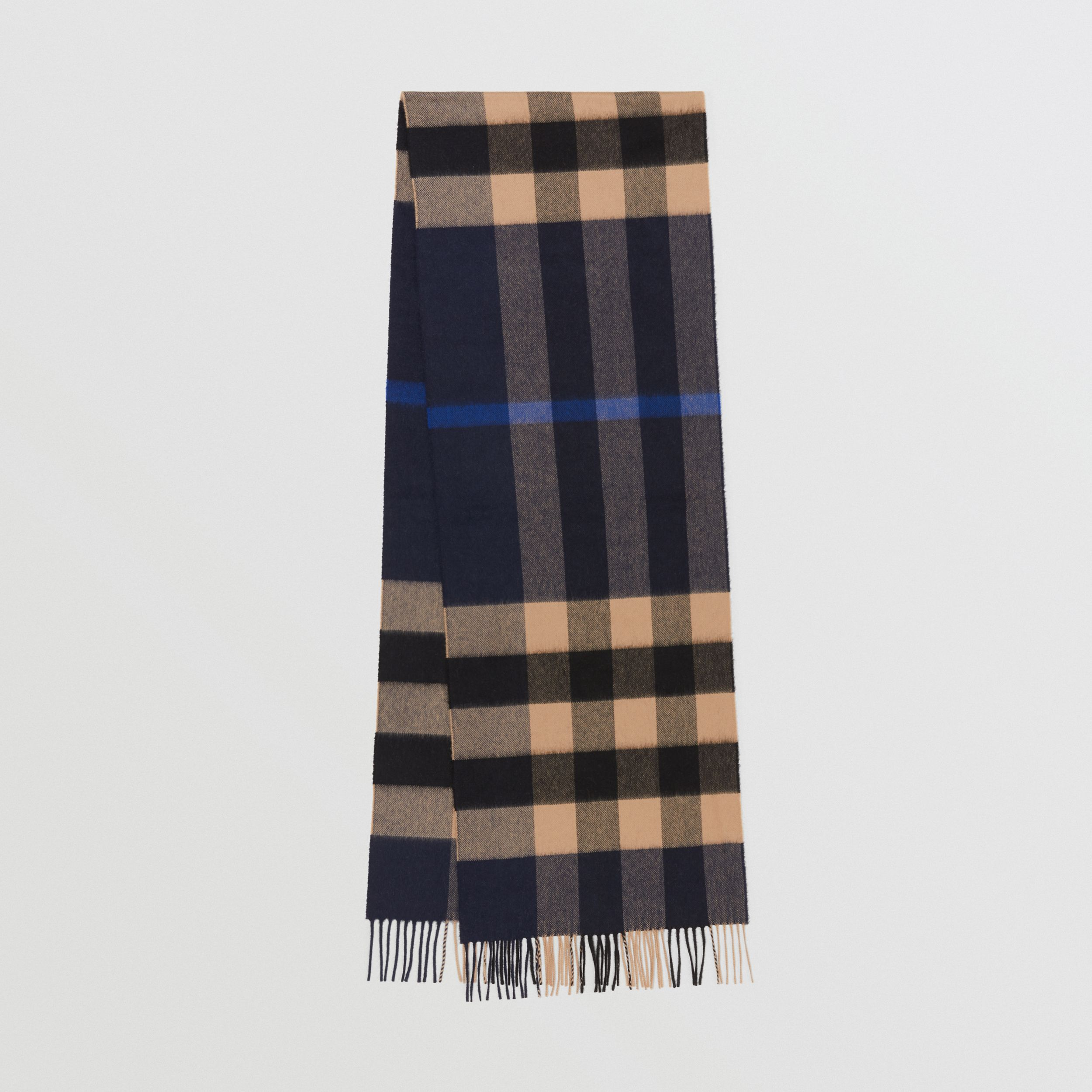 Check Cashmere Scarf in Indigo | Burberry - 1