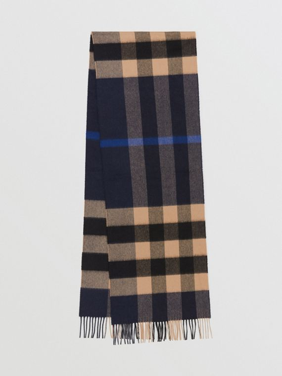 Check Cashmere Scarf in Indigo