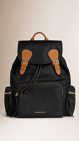 The Rucksack in Technical Nylon and Leather