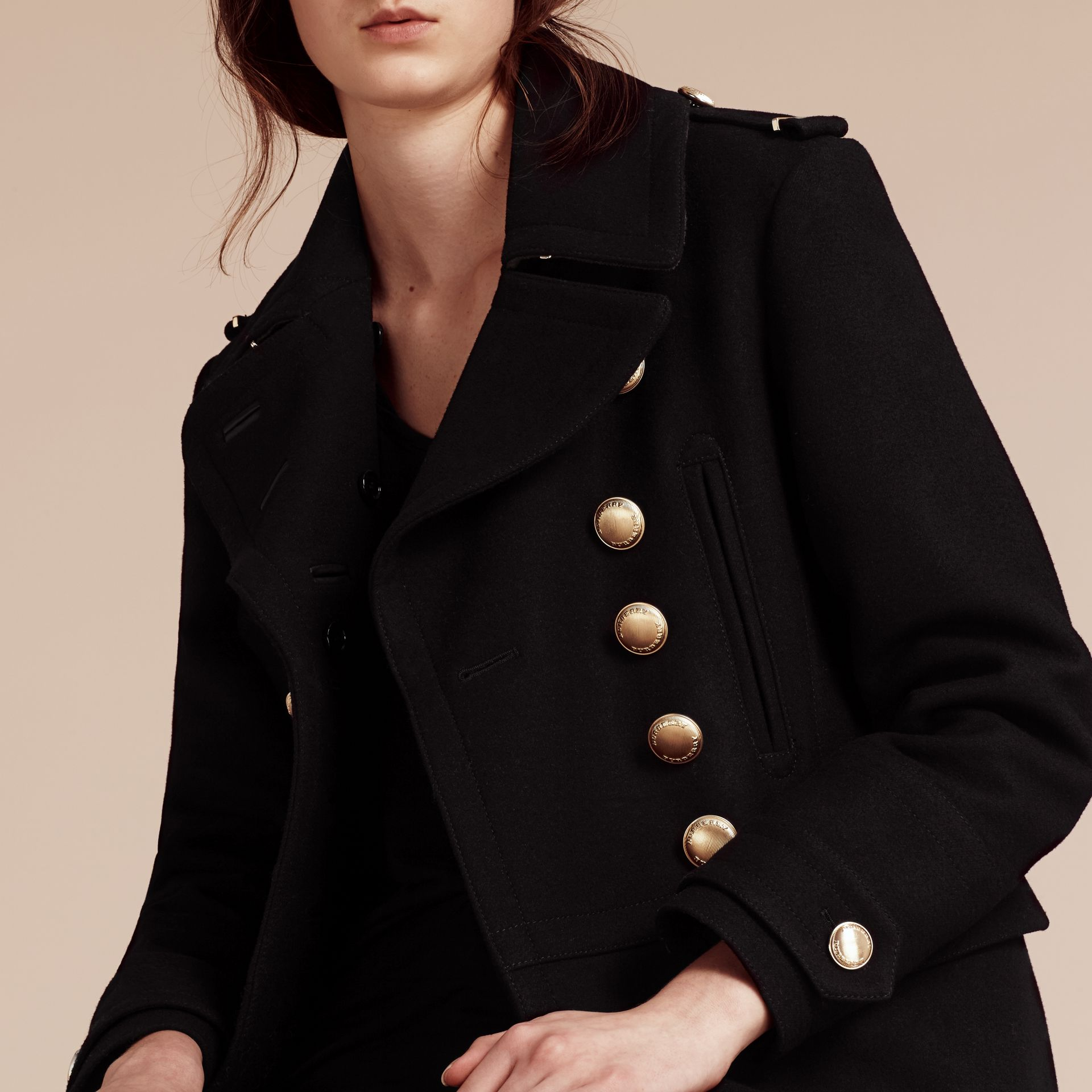 Black Wool Blend Military Pea Coat - gallery image 5