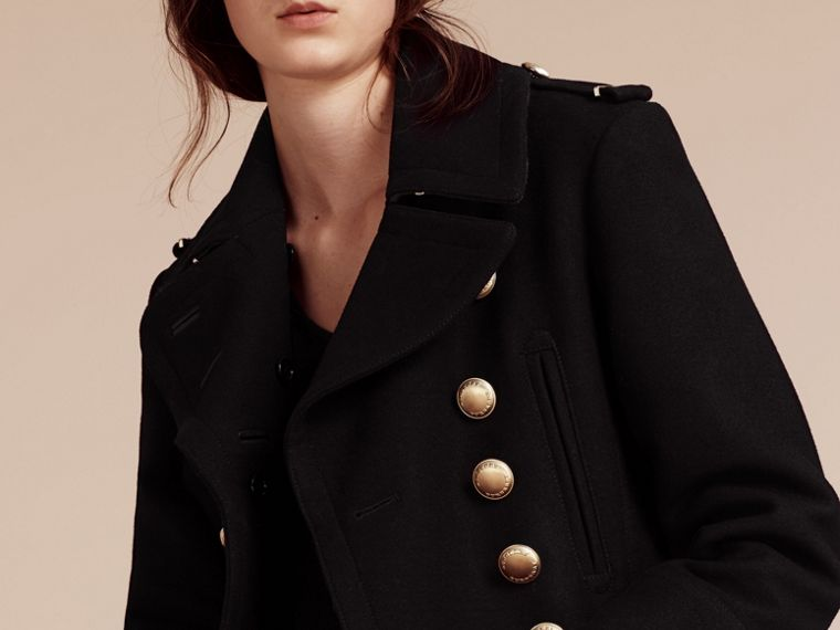 Black Wool Blend Military Pea Coat - cell image 4