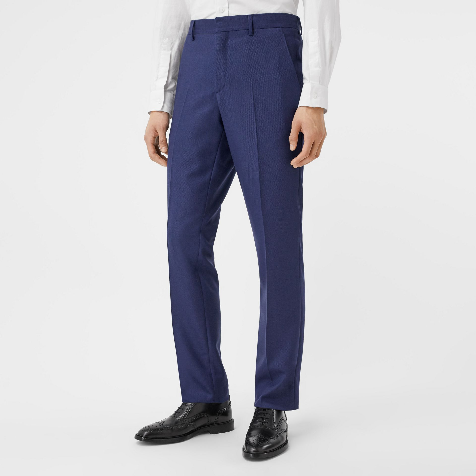 Classic Fit Birdseye Wool Tailored Trousers in Bright Navy - Men | Burberry Hong Kong S.A.R - gallery image 4