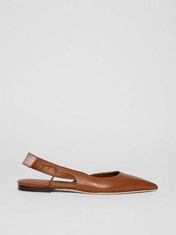 Logo Detail Leather Slingback Flats in Tan