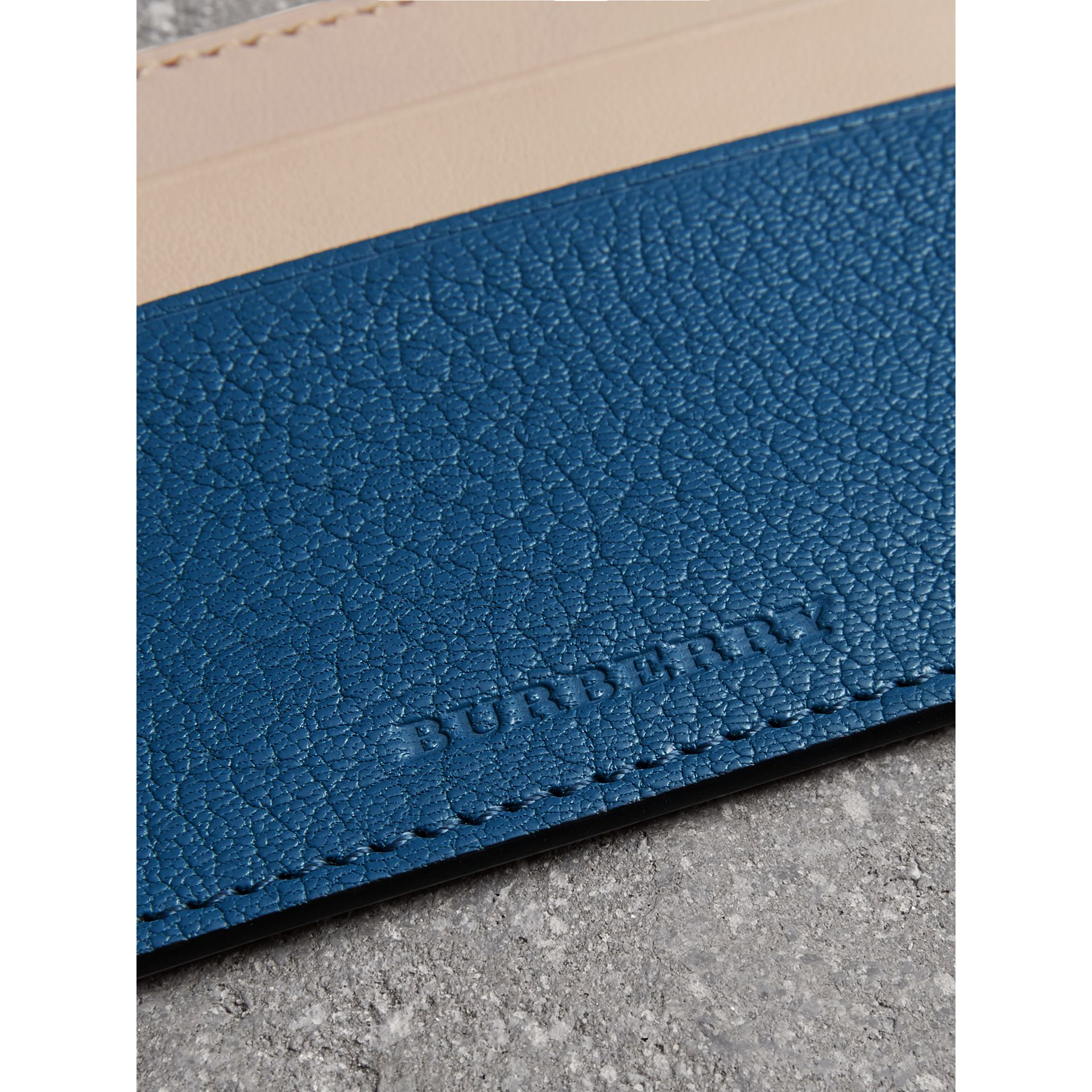 Two-tone Leather Card Case in Peacock Blue | Burberry - gallery image 0