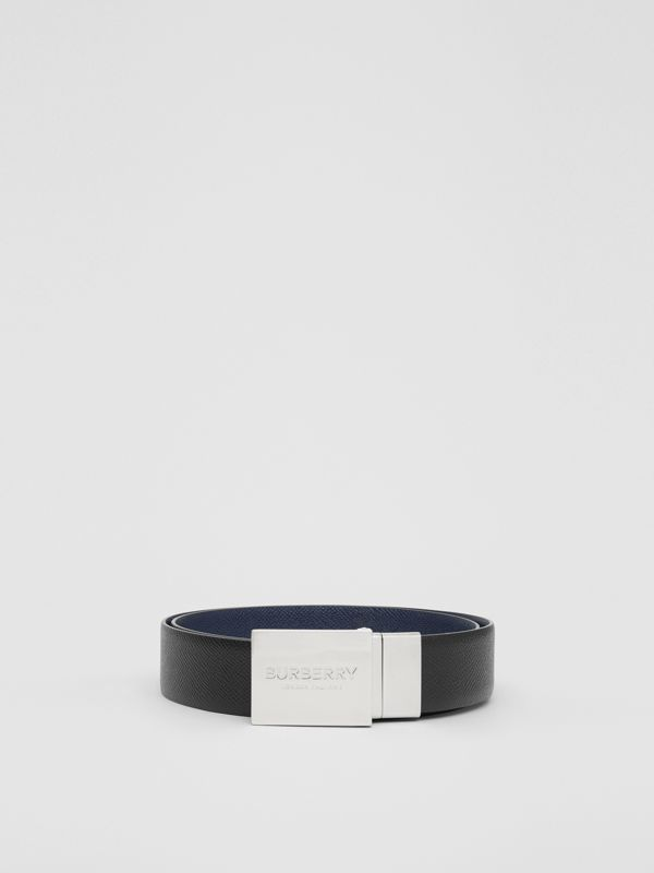 Reversible Plaque Buckle Grainy Leather Belt in Black/navy - Men | Burberry United Kingdom - cell image 3