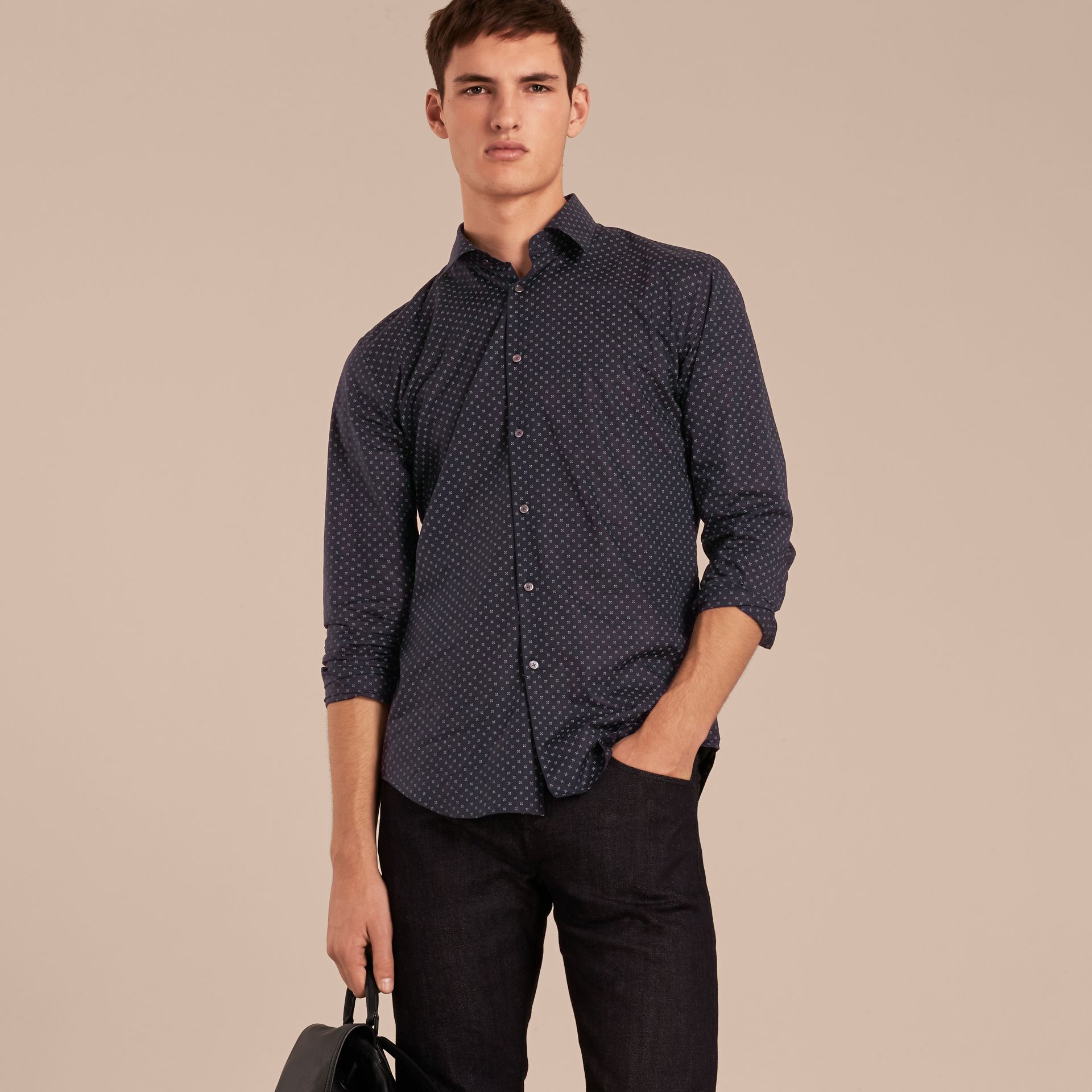 Navy Printed Cotton Poplin Shirt - gallery image 6