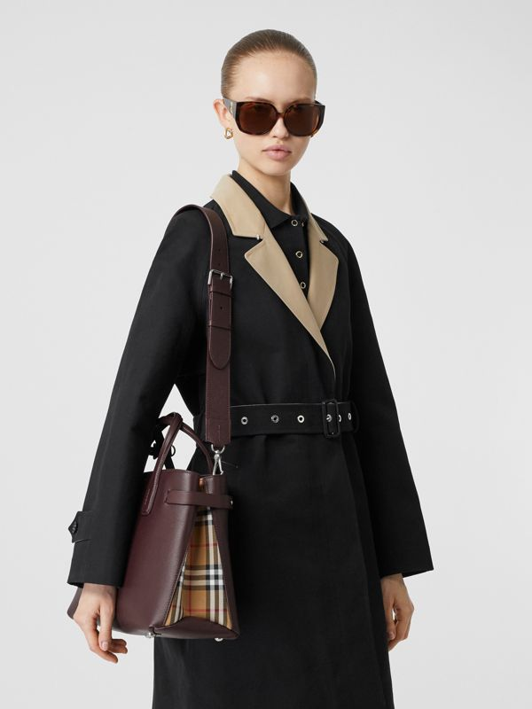 The Banner media in pelle con motivo Vintage check (Rosso Mogano) - Donna | Burberry - cell image 2