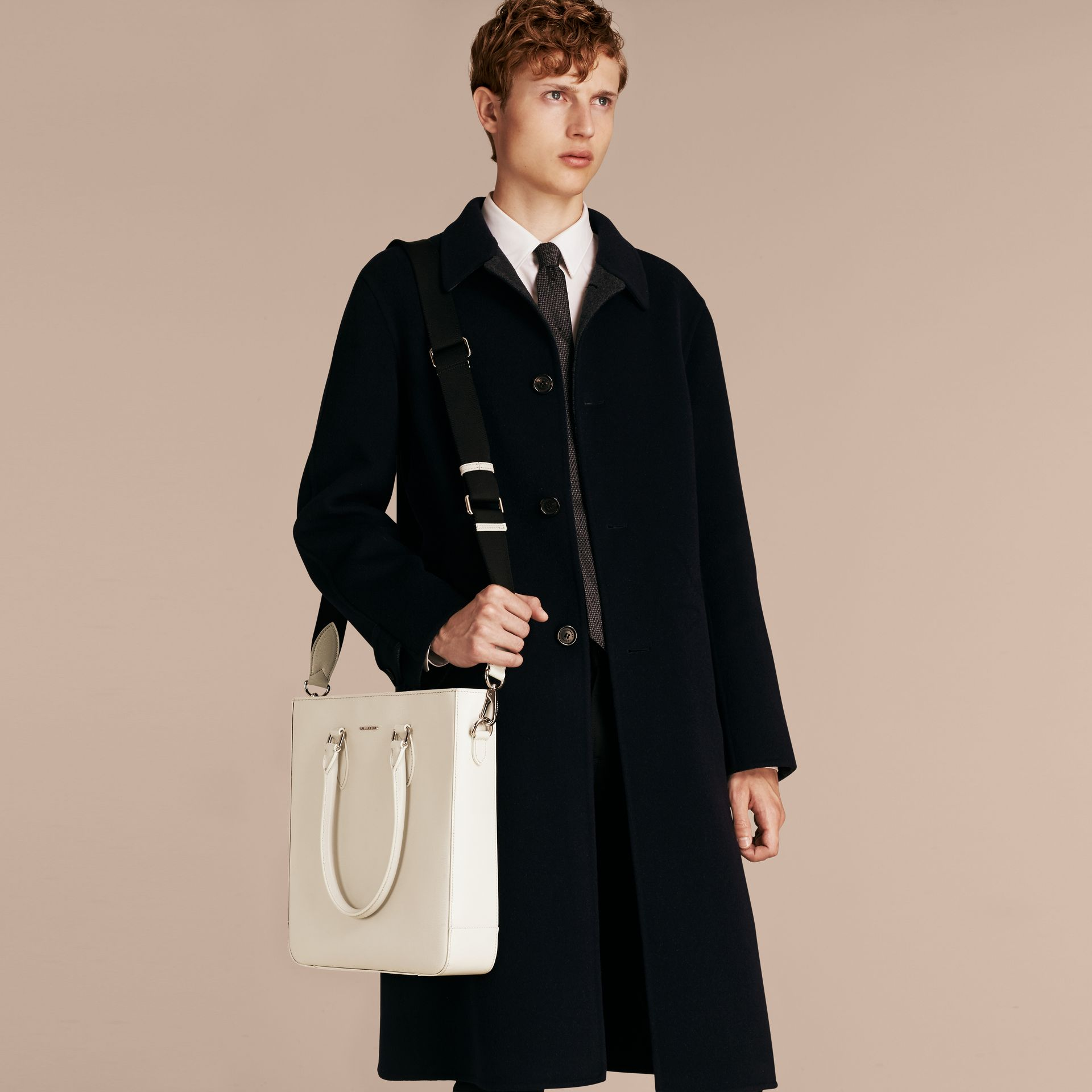 London Leather Tote Bag in Pale Stone - Men | Burberry - gallery image 3