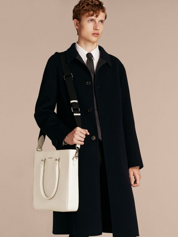 London Leather Tote Bag in Pale Stone - Men | Burberry - cell image 2